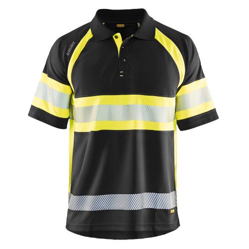 BLÅKLÄDER High Vis Polo Shirt schwarz/gelb - Vorderseite