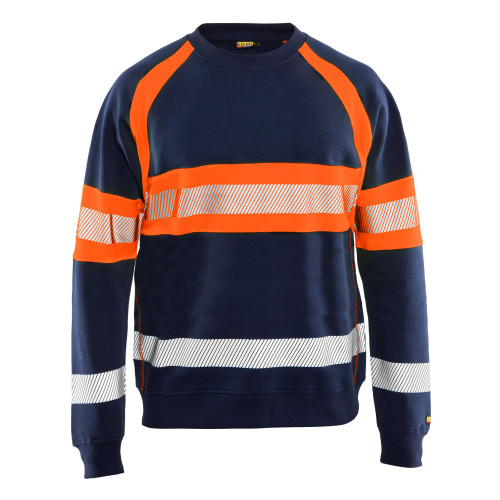 BLÅKLÄDER High Vis Sweater marineblau/orange - Vorderseite