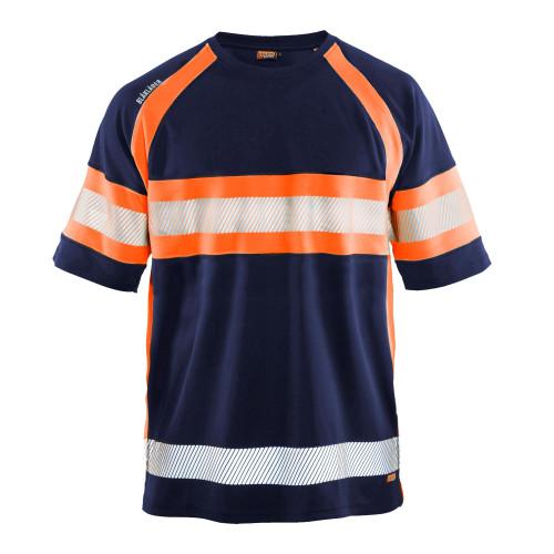 BLÅKLÄDER High Vis T-Shirt marineblau/orange - Vorderseite