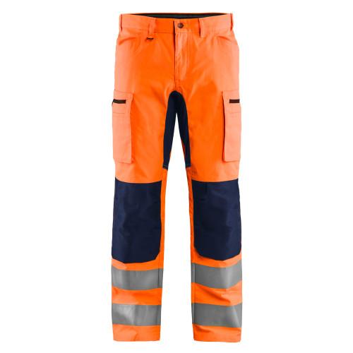 BLAKLÄDER High Vis Arbeitshose mit Stretch orange/marineblau