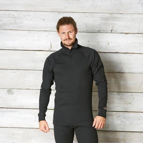 TERMO® SAFE MEDIUM Polo Unterhemd mit Reissverschluss Schwarz