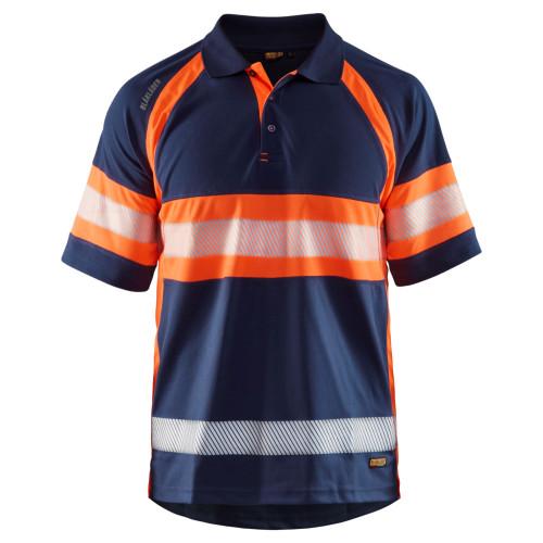 BLÅKLÄDER High Vis Polo Shirt marineblau/orange - Vorderseite