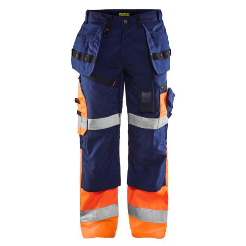 BLÅKLÄDER High Vis Arbeitshose X1500 marineblau/orange
