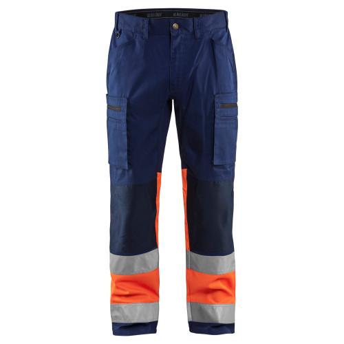 BLAKLÄDER High Vis Arbeitshose mit Stretch marineblau/orange