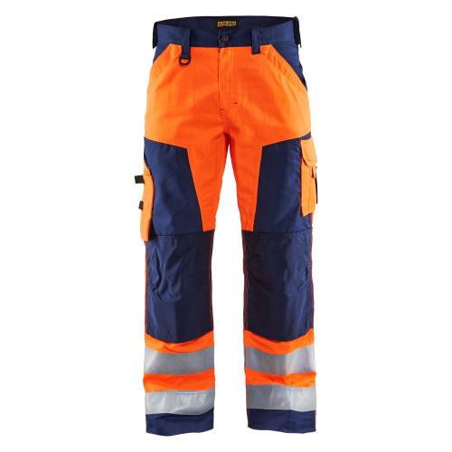 BLAKLÄDER High Vis Arbeitshose ohne Nageltaschen orange/marineblau